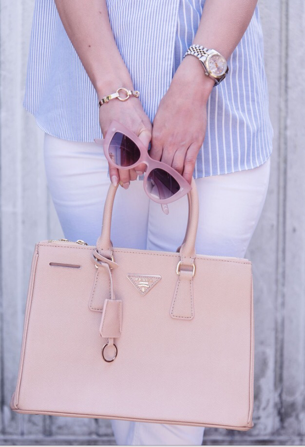 202803ecbc364 I have teamed the pop of pink from the sunglasses with a Prada Saffiano  double zip bag in nude (which is really a powder pink)